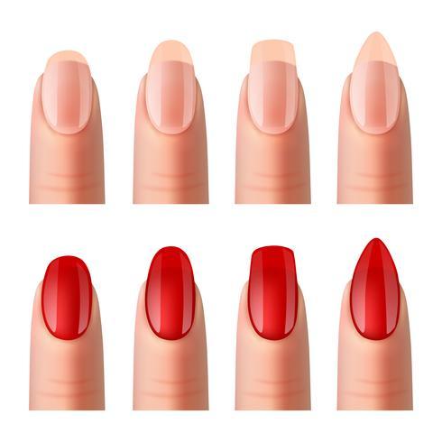 Set di immagini realistiche di manicure per unghie delle donne vettore