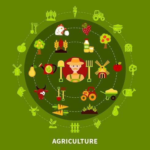 agricoltura contadina composizione tonda vettore