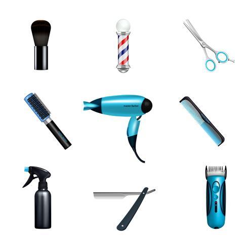 Set di icone di barbershop vettore