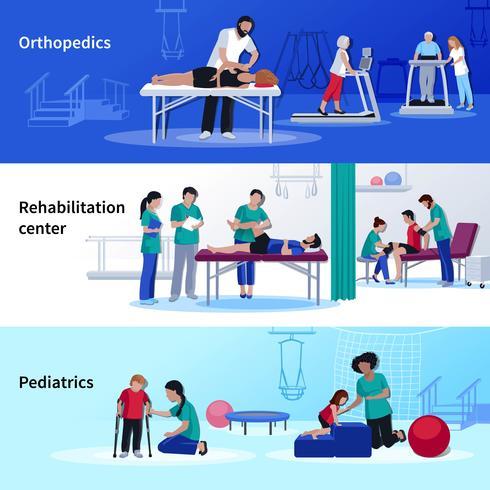 Centro di riabilitazione fisioterapia 3 piatto orizzontale vettore