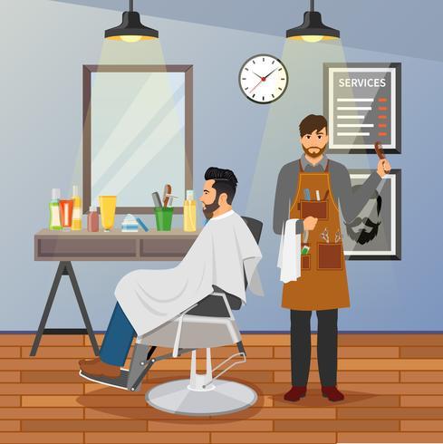 design piatto del negozio di barbiere vettore