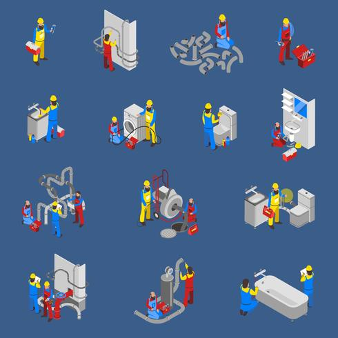 Idraulico isometrico persone Icon Set vettore