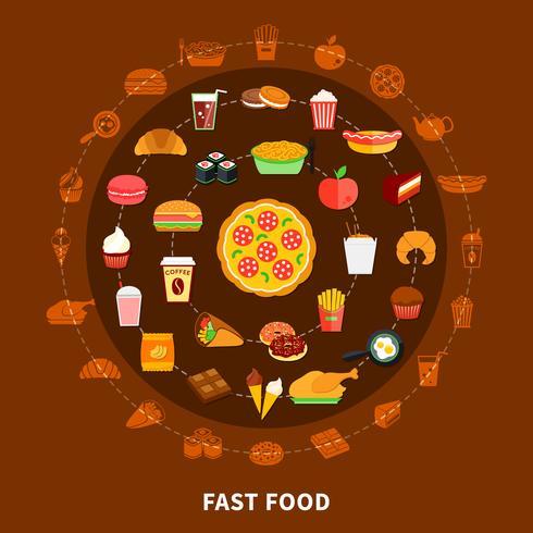 Poster di composizione cerchio menu fast food vettore