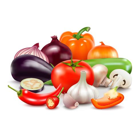 Composizione di verdure su sfondo bianco vettore