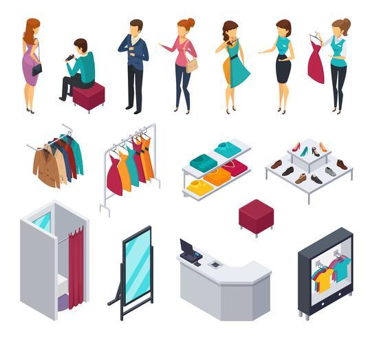 Set di icone isometriche persone cercando negozio vettore
