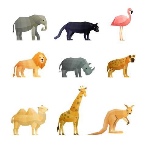 Set di icone poligonali di animali selvatici del sud vettore