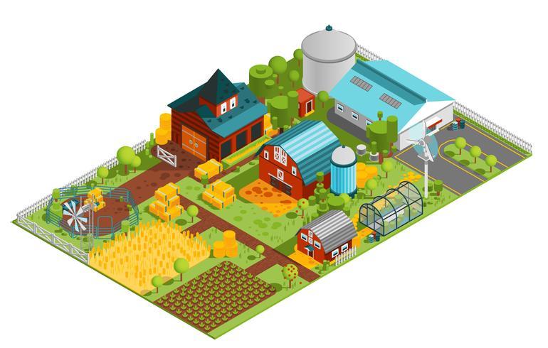 Composizione isometrica fattoria rurale vettore