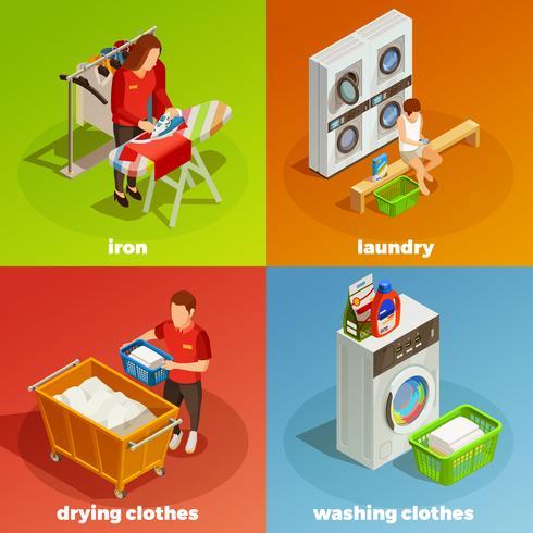 Composizione di lavaggio a secco isometrico lavanderia vettore