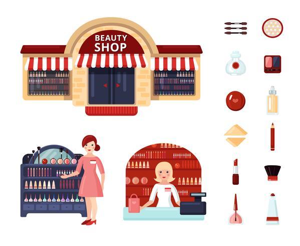 Set di icone del negozio di bellezza vettore