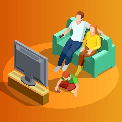 Famiglia che guarda l'immagine isometrica della TV della casa vettore