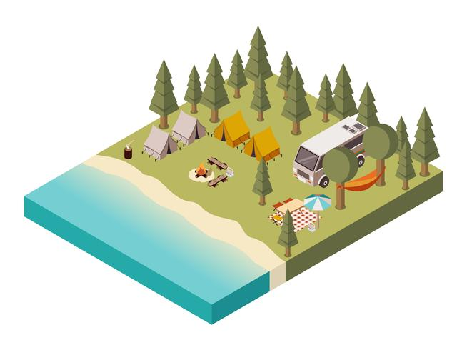 Campo vicino al lago isometrico illustrazione vettore