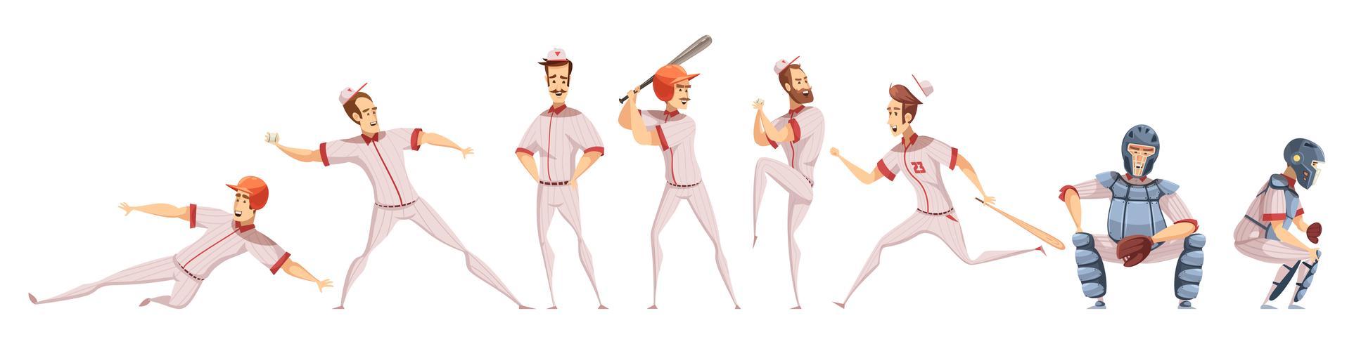 Set di icone colorate giocatori di baseball vettore