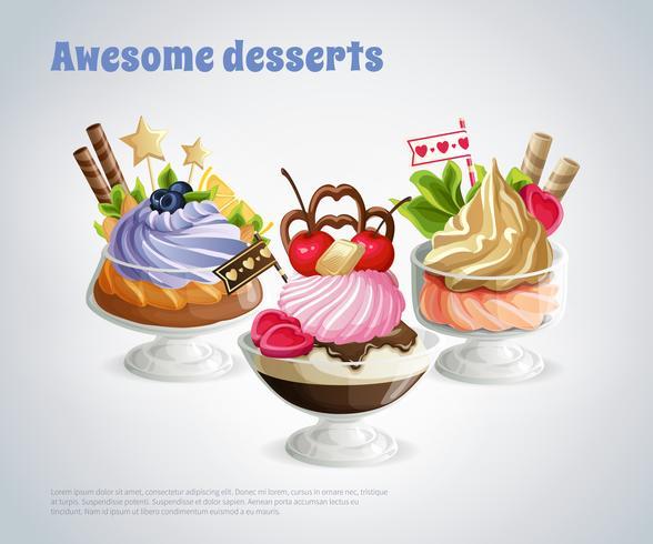 Composizione impressionante di dessert vettore