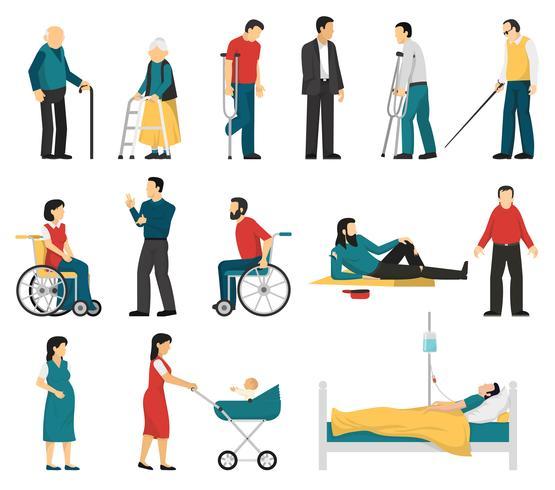 Set di persone disabili vettore
