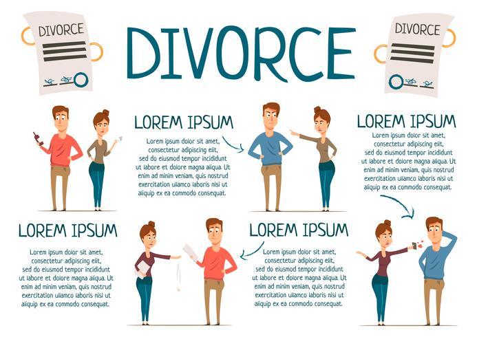 Infographics di matrimonio e divorzio vettore