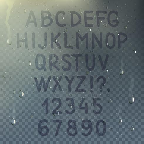 Composizione di alfabeto trasparente disegnato a mano vettore