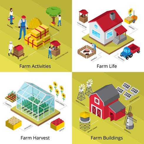 concetto di fattoria 4 icone isometriche quadrati vettore