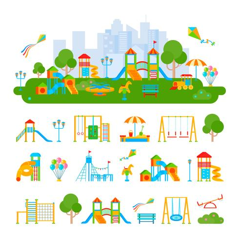Composizione del costruttore del campo da gioco per bambini vettore