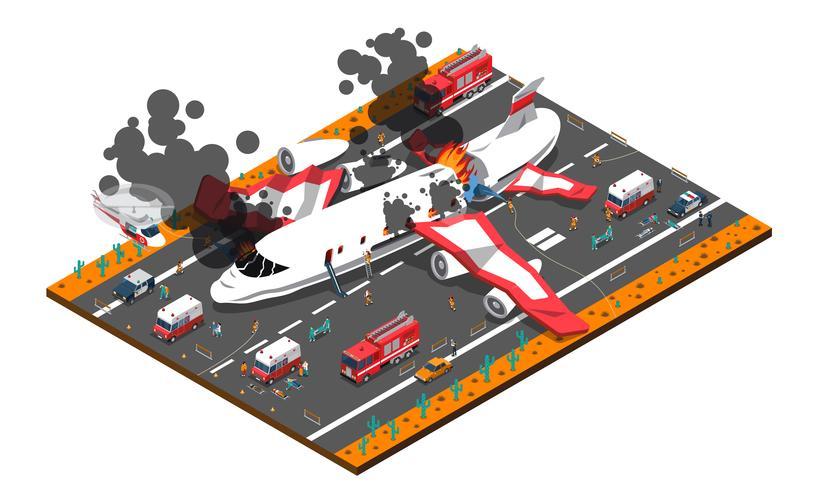 Composizione isometrica di incidente aereo vettore