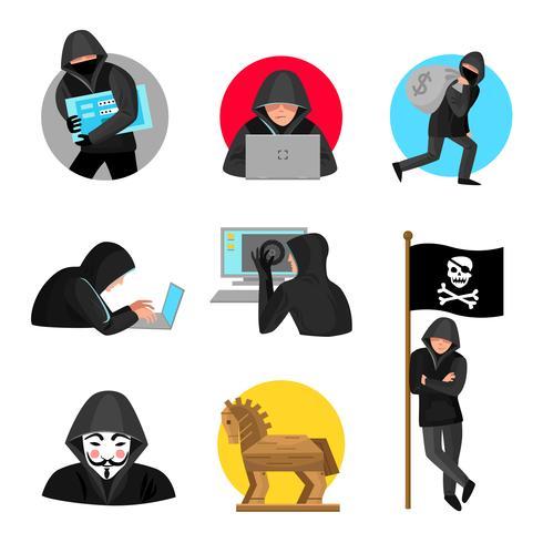 Collezione di icone simboli simboli di hacker vettore