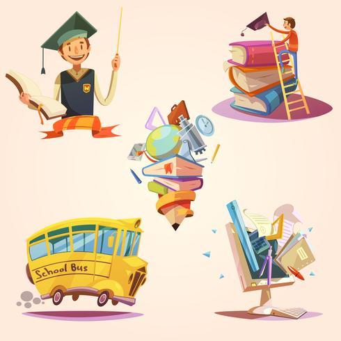 Set retrò di educazione dei cartoni animati vettore