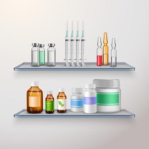 Composizione scaffali prodotto sanitario vettore