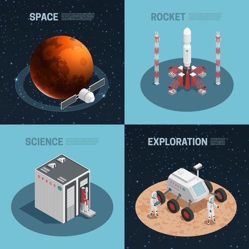 Set di icone isometriche di razzo spaziale vettore