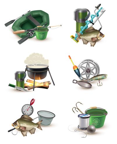 Set di icone di attrezzi da pesca 6 icone vettore