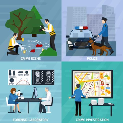 Concetto di design piatto investigazione del crimine vettore