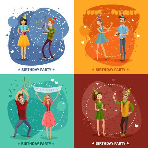 Composizione quadrata di Birthday Party 4 Icons vettore