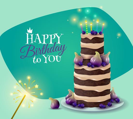 Carta torta di compleanno vettore