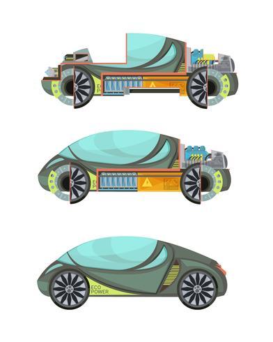 Set di auto elettro vettore