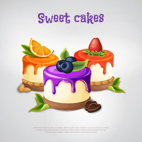Composizione di torte dolci vettore