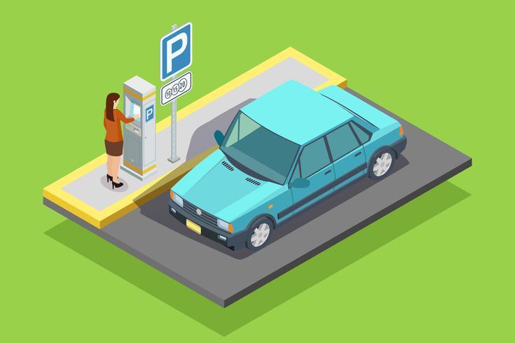 Parcheggio modello isometrico vettore