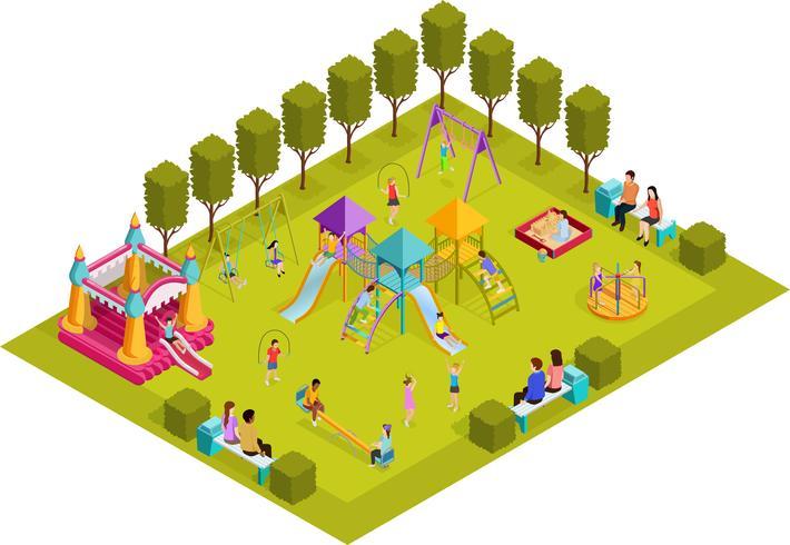 Parco giochi per bambini isometrici vettore