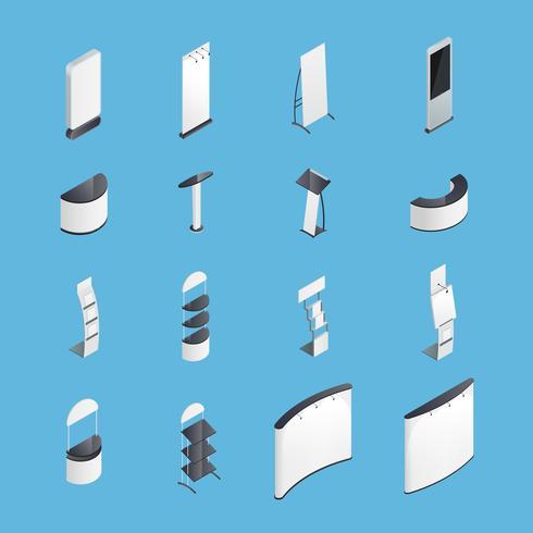 Set di icone isometriche di stand di esposizione vettore