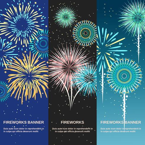 Bandiere verticali astratti festivo di fuochi d'artificio vettore