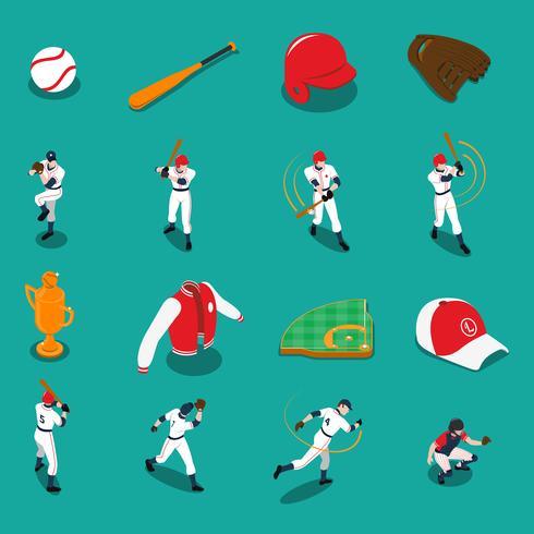 Set di icone isometriche di baseball vettore
