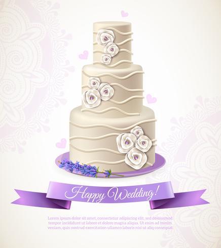 Illustrazione della torta di nozze vettore