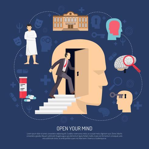 Poster astratto moderno dello psicologo vettore