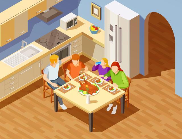 Cena in famiglia in cucina Immagine isometrica vettore