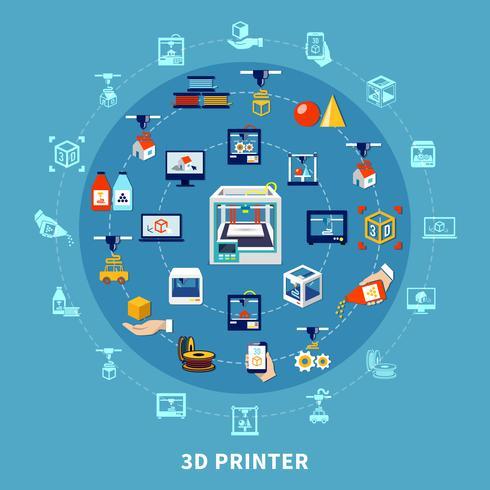 Composizione di design di stampa 3d vettore