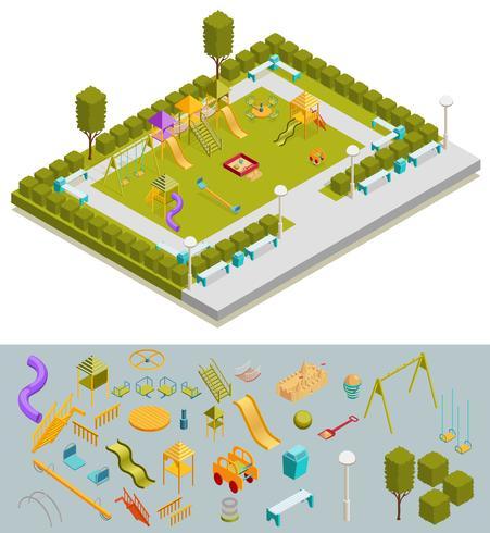 Composizione di giochi isometrici colorati vettore