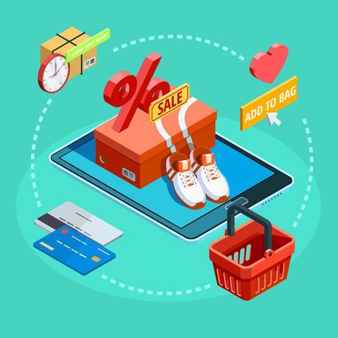Manifesto di e-commerce isometrico di processo di acquisto online vettore