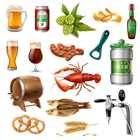 Collezione di icone di birra Oktoberfest vettore