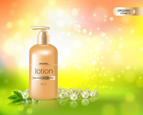 Bottiglia d'oro di lozione per l'idratazione della pelle vettore