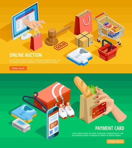 Shopping online banner isometrici di e-commerce vettore