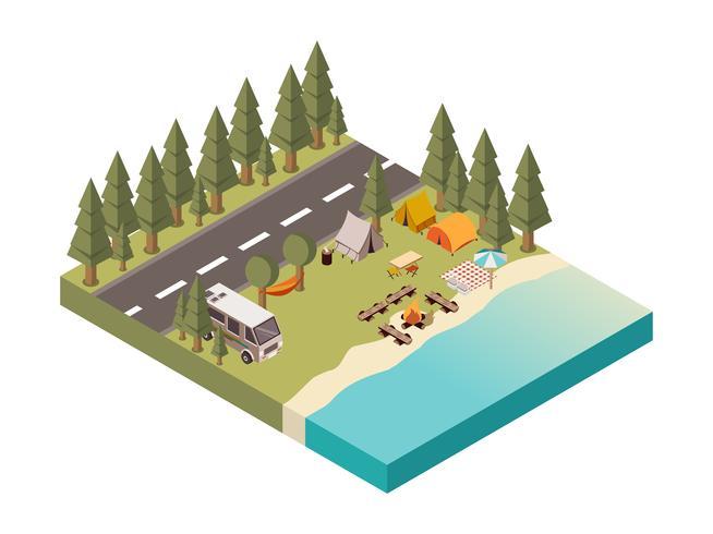 Accampamento fra l'illustrazione della strada e del lago vettore