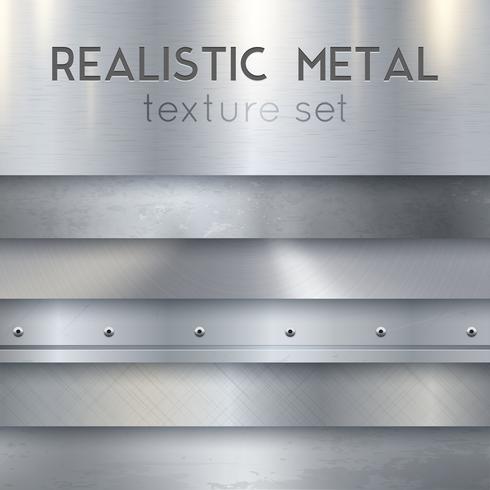 Set di campioni orizzontali realistici Texture metallo vettore