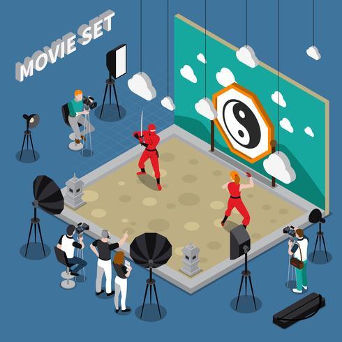 Illustrazione isometrica di set cinematografico vettore